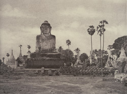 No. 46. Amerapoora. Colossal Statue of Gautama close to the North end of the bridge.
